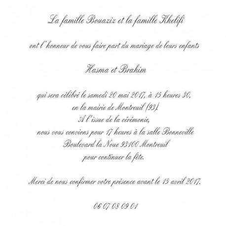 Faire part Mariage Oriental Blanc (english)