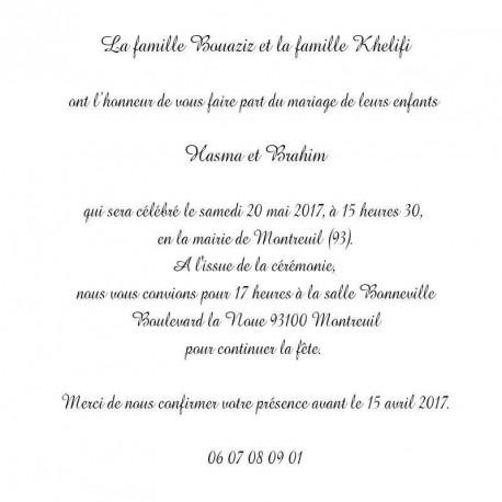 Faire part Mariage Oriental Bordeaux