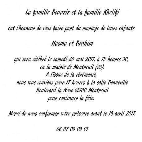 Faire part Mariage Oriental Ivoire