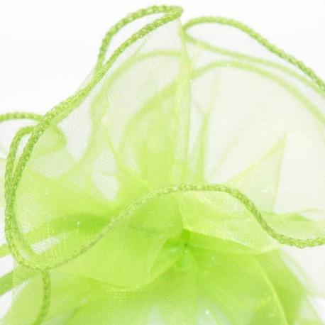 Tulle a dragées vert anis avec attache pas cher pour mariage