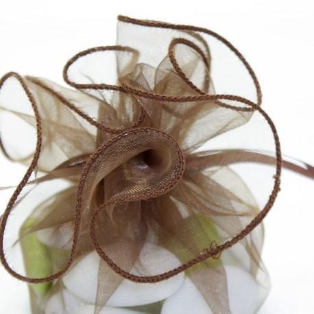 Tulle a dragées chocolat avec attache mariage