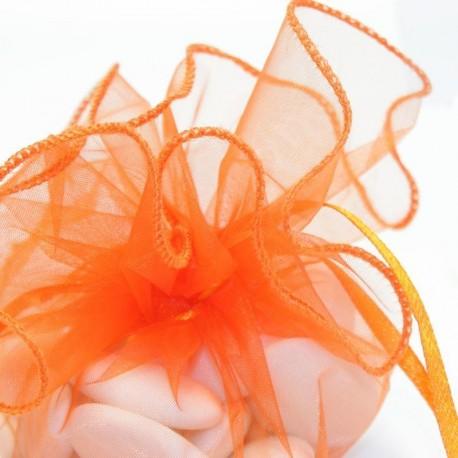 Tulle a dragées orange avec attache baptême