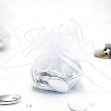 Tulle a dragées blanche avec attache mariage