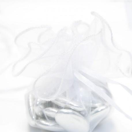 Tulle a dragées blanche avec attache baptême
