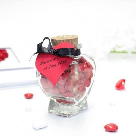 Contenant à dragées coeur en verre pour mariage