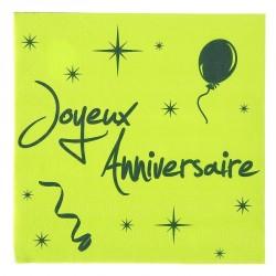 20 serviettes de table joyeux anniversaire vert