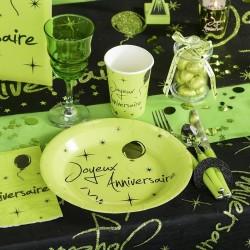 10 Assiettes jetables anniversaire vert