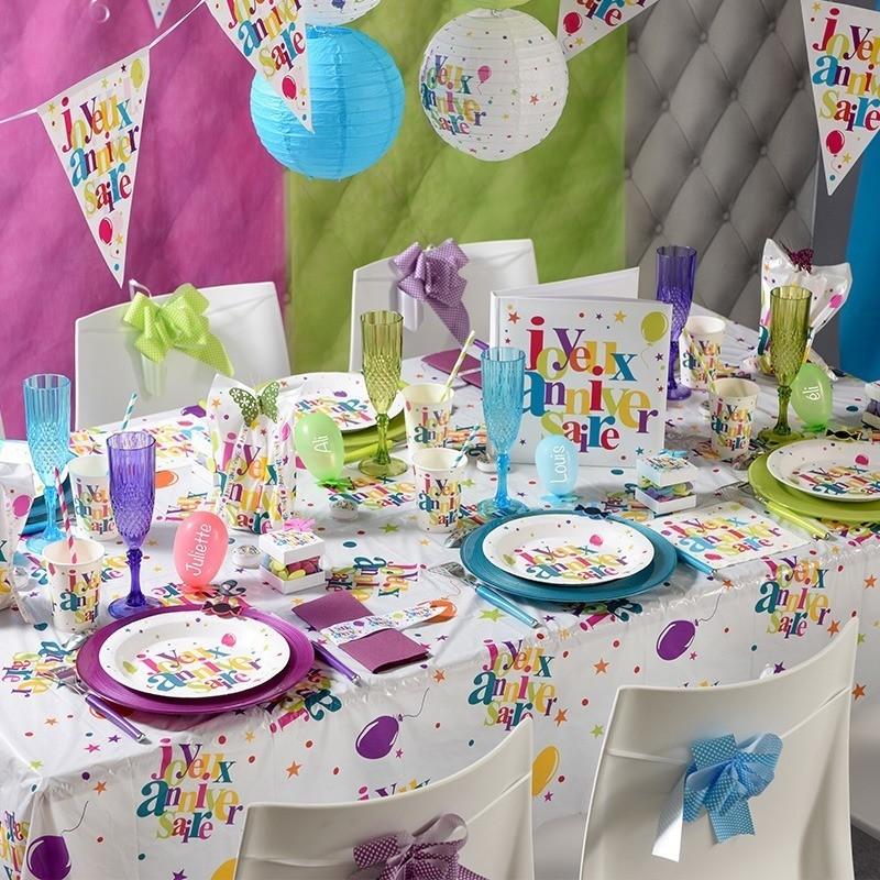 Nappe rectangulaire multicolore anniversaire drag es anahita - Deco table multicolore ...