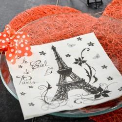 20 serviettes de table thème paris blanc